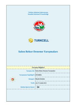 Salon Rekor Deneme Yarışmaları - Türkiye Atletizm Federasyonu