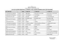 Salon Listesi - Oturma Planları