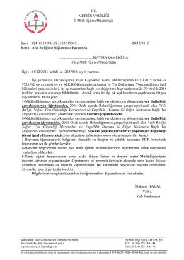 24/12/2015 tarih ve 13315045 sayılı Resmi Yazı.