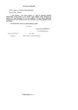 Bilim, Sanayi ve Teknoloji Bakanlığına Ait Atama