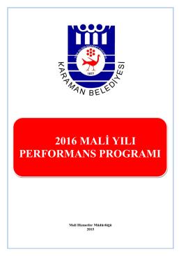 Performans Programı - Karaman Belediyesi