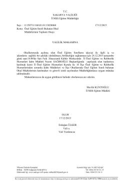 T.C. SAKARYA VALİLİĞİ İl Milli Eğitim Müdürlüğü Sayı : 11150731