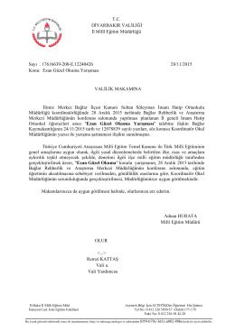 Valilik Onayı - Diyarbakır İl Milli Eğitim Müdürlüğü