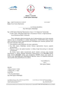 Resmi Yazı - Bursa İl Milli Eğitim Müdürlüğü