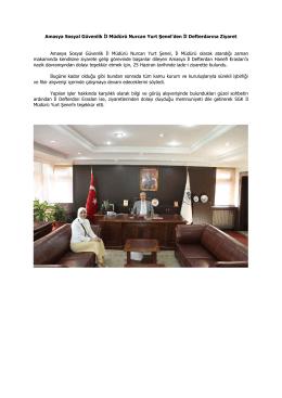 Amasya Sosyal Güvenlik İl Müdürü Nurcan Yurt Şenel`den İl