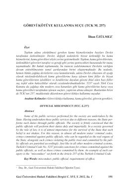 GÖREVİ KÖTÜYE KULLANMA SUÇU (TCK M. 257)