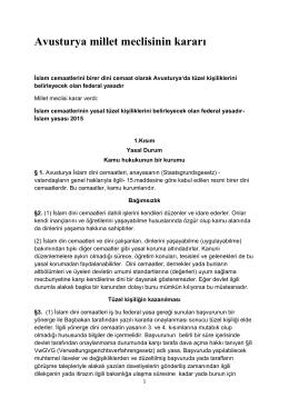 Avusturya millet meclisinin kararı