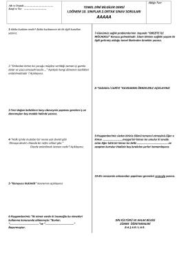 temel dini bilgiler dersi ı.dönem 10. sınıflar 2.ortak sınav soruları