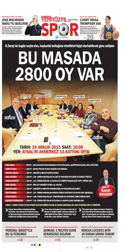 TARiH: 24 ARALIK 2015 SAAT: 15:00 YER: AYSAL`IN AKMERKEZ