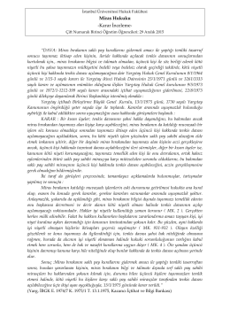 Karar İnceleme Notu - İstanbul Üniversitesi | Hukuk Fakültesi