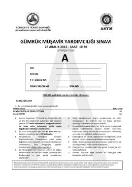 2015 GMY Sınavı Soru ve Cevapları A Kitapçığı (26 Aralık 2015)