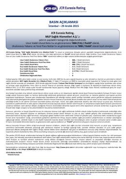JCR Eurasia Rating, MLP Sağlık Hizmetleri A.Ş.
