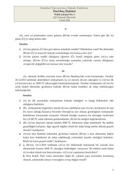 Özel Borç İlişkileri - İstanbul Üniversitesi | Hukuk Fakültesi