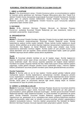 Kurumsal Yönetim İlkeleri Komite Çalışma Esasları