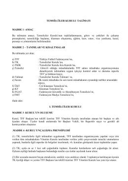 Temsilciler Kurulu Talimatı - Türkiye Futbol Federasyonu