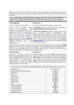 a- süleyman demirel üniversitesi sosyal bilimler enstitüsü 2015