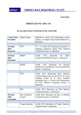 sırk 2016-02 ocak 2016 mali yükümlülük takvimi hk.