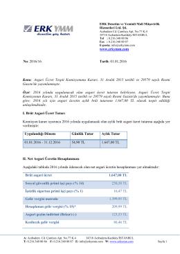 2016/16 - Asgari ücretin aylık brüt tutarı 1.647,00 TL olarak