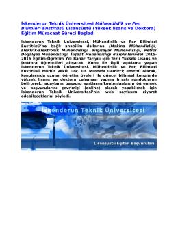 İskenderun Teknik Üniversitesi Mühendislik ve Fen Bilimleri