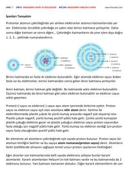 İyonları Tanıyalım Protonlar atomun çekirdeğinde yer