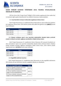 gelir vergisi kanunu yönünden 2016 yılında uygulanacak oranlar ve