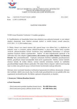TCDD L/2015-2 Genelge Liman Hizmetleri Tarifeleri.