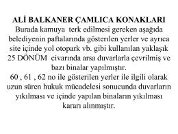 ALİ BALKANER ÇAMLICA KONAKLARI Burada kamuya terk