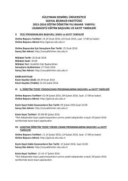 süleyman demirel üniversitesi sosyal bilimler enstitüsü 2015