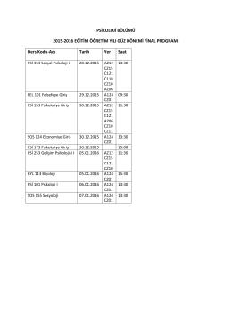 2015-2016 Güz Dönemi Final Programı