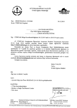 Müdürlüğümüzün konu ile ilgili 30/12/2015 tarih ve 13535048 sayılı