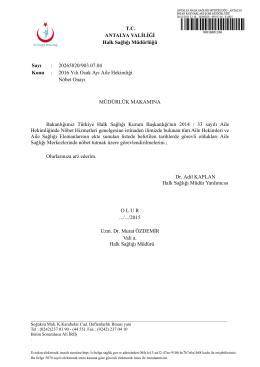 ocak 2016 nöbet onayı - Antalya Halk Sağlığı Müdürlüğü