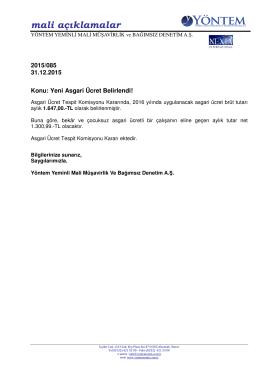 2015-085 Yeni Asgari Ücret Belirlendi!