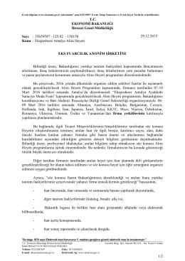 1/2 T.C. EKONOMİ BAKANLIĞI İhracat Genel Müdürlüğü Sayı