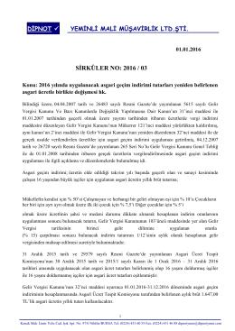 sırk 2016-03 2016 için geçerli asgari ücret ve agi