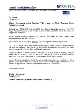 2015-084 Yurtdışına Yolcu Beraberi Türk Lirası ve Döviz Çıkışına