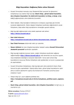 Bilgi Kaynakları Sağlama/Satın Alma Hizmeti