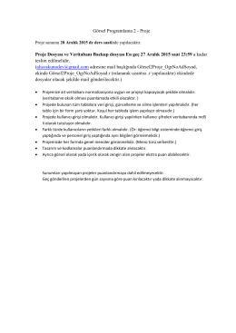 Görsel Programlama 2 - Proje Proje Dosyası ve Veritabanı Backup