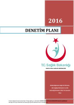 denetim planı - Konya Halk Sağlığı Müdürlüğü