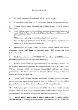 GENEL ŞARTLAR 1. 657 sayılı Kanun`un 48 inci maddesinde