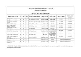 2015-2016 Güz Dönemi Genel Sınavları ve Bütünleme Sınavları