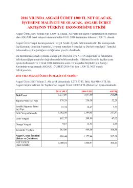 2016 yılında asgari ücret 1300 tl net olacak, işverene maliyeti ne