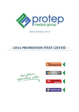 2016 PROMOSYON FİYAT LİSTESİ