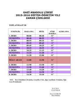 GAZİ ANADOLU LİSESİ 2015-2016 EĞİTİM