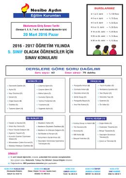 5.sınıf - Nesibe Aydın Eğitim Kurumları