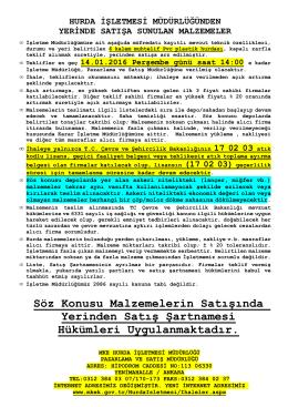 14.01.2016 Tarihli Yerinde Satış (Muhtelif PVC- Plastik