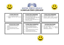 6.sınıflar ödev çizelgesi
