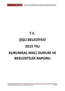 2015 YILI KURUMSAL Mali Durum VE Beklenti