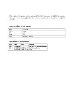 İİBF`de yapılacak olan yılsonu sınavları nedeniyle 04.01.2016