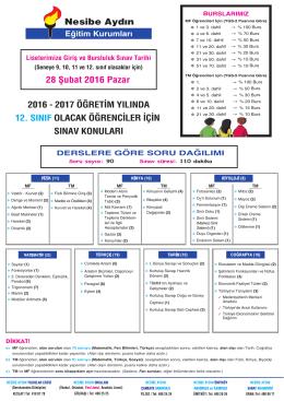 12.sınıf - Nesibe Aydın Eğitim Kurumları