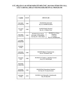 ytü, bilgisayar mühendisliği bölümü, 2015/2016 öğretim yılı, güz